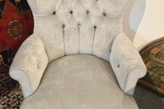 Contemporary Grey Velvet Button Chair with Harlequin Buttons. New - £295